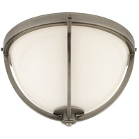 Visual Comfort Thomas OBrien Billy 2 Light Flush Mount in Antique Nickel with White Glass Shade TOB4055AN-WG