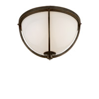 Visual Comfort Thomas OBrien Billy 2 Light Flush Mount in Bronze with White Glass Shade TOB4056BZ-WG