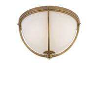 Visual Comfort Thomas OBrien Billy 2 Light Flush Mount in Hand-Rubbed Antique Brass with White Glass Shade TOB4056HAB-WG
