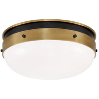 Visual Comfort TOB4063BZ/HAB-WG Thomas Obrien Hicks 2 Light 13 inch Bronze and Hand-Rubbed Antique Brass Flush Mount Ceiling Light, Small