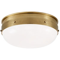 Visual Comfort TOB4063HAB-WG Thomas OBrien Hicks 2 Light 13 inch Hand-Rubbed Antique Brass Flush Mount Ceiling Light, Small