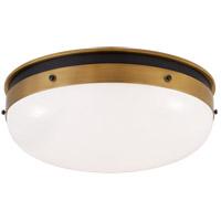 Visual Comfort TOB4064BZ/HAB-WG Thomas O'Brien Hicks 1 Light 17 inch Bronze and Hand-Rubbed Antique Brass Flush Mount Ceiling Light, Medium