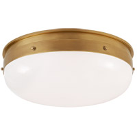 Visual Comfort TOB4064HAB-WG Thomas O'Brien Hicks 1 Light 17 inch Hand-Rubbed Antique Brass Flush Mount Ceiling Light, Medium