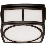 Thomas OBrien Winston 9 inch Bronze Flush Mount Ceiling Light, Thomas O''Brien, Small, White Glass