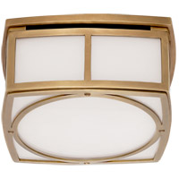 Thomas OBrien Winston 9 inch Hand-Rubbed Antique Brass Flush Mount Ceiling Light, Thomas O''Brien, Small, White Glass