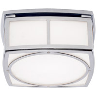 Thomas OBrien Winston 9 inch Polished Nickel Flush Mount Ceiling Light, Thomas O''Brien, Small, White Glass