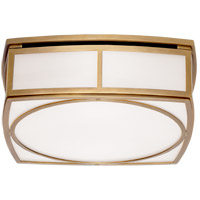 Visual Comfort TOB4073HAB-WG Thomas OBrien Winston 2 Light 13 inch Hand-Rubbed Antique Brass Flush Mount Ceiling Light, Thomas O''Brien, Large, White Glass