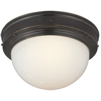 Visual Comfort Thomas OBrien Pelham Moon 1 Light Flush Mount in Bronze with Wax TOB4100BZ