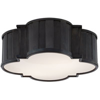 Visual Comfort Thomas OBrien Tilden 3 Light Flush Mount in Bronze with White Glass Shade TOB4131BZ-WG