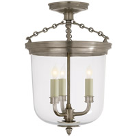 Thomas OBrien Merchant 3 Light 11 inch Antique Nickel Flush Mount Ceiling Light