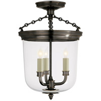 Thomas OBrien Merchant 3 Light 11 inch Bronze Semi-Flush Ceiling Light
