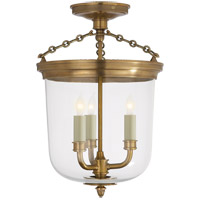 Thomas O'Brien Merchant 3 Light 11 inch Hand-Rubbed Antique Brass Semi-Flush Ceiling Light
