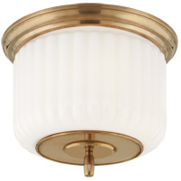 Thomas OBrien Eden 2 Light 12 inch Hand-Rubbed Antique Brass Flush Mount Ceiling Light, Thomas O''Brien, White Glass