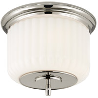 Thomas OBrien Eden 2 Light 12 inch Polished Nickel Flush Mount Ceiling Light, Thomas O''Brien, White Glass