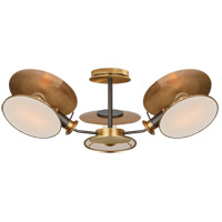Visual Comfort TOB4290BZ/HAB-L Thomas OBrien Osiris 3 Light 25 inch Bronze and Hand-Rubbed Antique Brass Semi-Flush Mount Ceiling Light, Medium Reflector