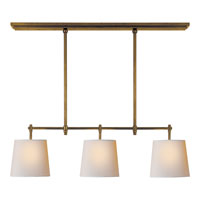 Visual Comfort Thomas OBrien Bryant 3 Light Linear Pendant in Hand-Rubbed Antique Brass TOB5004HAB-NP