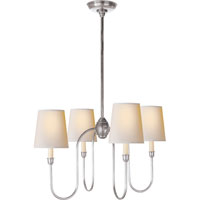 Visual Comfort TOB5007AS-NP Thomas OBrien Vendome 4 Light 26 inch Antique Silver Chandelier Ceiling Light in Natural Paper