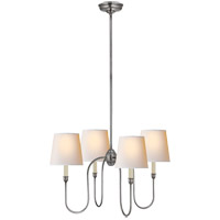 Visual Comfort TOB5007AS-NP Thomas O'Brien Vendome 4 Light 26 inch Antique Silver Chandelier Ceiling Light in Natural Paper