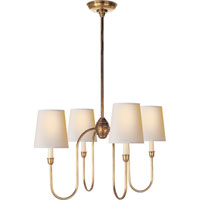 Thomas OBrien Vendome 4 Light 26 inch Hand-Rubbed Antique Brass Chandelier Ceiling Light in Natural Paper