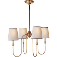 Thomas OBrien Vendome 4 Light 26 inch Hand-Rubbed Antique Brass Chandelier Ceiling Light in Natural Paper with Black Tape