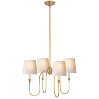 Thomas O'Brien Vendome 4 Light 26 inch Hand-Rubbed Antique Brass Chandelier Ceiling Light in Natural Paper