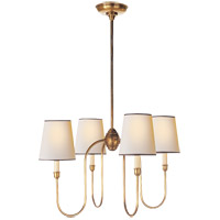 Visual Comfort TOB5007HAB-NP/BT Thomas O'Brien Vendome 4 Light 26 inch Hand-Rubbed Antique Brass Chandelier Ceiling Light in Natural Paper with Black Tape