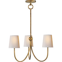 Visual Comfort Thomas OBrien Reed 3 Light Chandelier in Hand-Rubbed Antique Brass TOB5009HAB-NP photo thumbnail