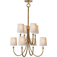 Visual Comfort Thomas OBrien Reed 8 Light Chandelier in Hand-Rubbed Antique Brass TOB5010HAB-NP