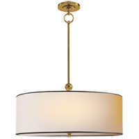 Thomas OBrien Reed 2 Light 22 inch Hand-Rubbed Antique Brass Hanging Shade Ceiling Light in Natural Paper with Black Tape
