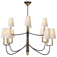 Visual Comfort TOB5017BZ/HAB-NP Thomas Obrien Farlane 12 Light 48 inch Bronze with Antique Brass Accents Chandelier Ceiling Light