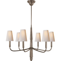 Visual Comfort TOB5018AN-NP Thomas OBrien Farlane 6 Light 34 inch Antique Nickel Chandelier Ceiling Light in (None), Natural Paper