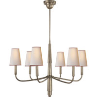 Visual Comfort TOB5018AN-NP/RT Thomas OBrien Farlane 6 Light 34 inch Antique Nickel Chandelier Ceiling Light in (None), Natural Paper with Red Tape