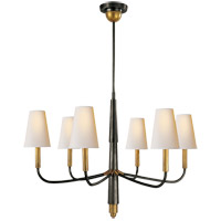 Visual Comfort TOB5018BZ/HAB-NP Thomas Obrien Farlane 6 Light 34 inch Bronze with Antique Brass Accents Chandelier Ceiling Light in Natural Paper