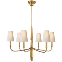 Visual Comfort TOB5018HAB-NP Thomas OBrien Farlane 6 Light 34 inch Hand-Rubbed Antique Brass Chandelier Ceiling Light in (None), Natural Paper