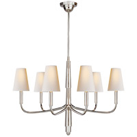 Visual Comfort TOB5018PS-NP Thomas O'Brien Farlane 6 Light 34 inch Polished Silver Chandelier Ceiling Light in Natural Paper