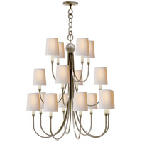 Visual Comfort Thomas OBrien Reed 16 Light Chandelier in Antique Nickel with Natural Paper Shade TOB5019AN-NP