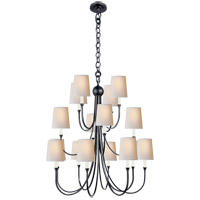 Visual Comfort Thomas OBrien Reed 16 Light Chandelier in Bronze with Natural Paper Shade TOB5019BZ-NP