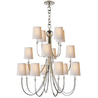 Visual Comfort Thomas OBrien Reed 16 Light Chandelier in Polished Nickel with Natural Paper Shade TOB5019PN-NP