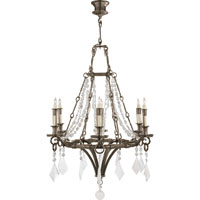 Visual Comfort Thomas OBrien Verona 6 Light Chandelier in Sheffield Nickel TOB5022SN-CGQ