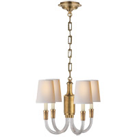 Thomas OBrien Vivian 4 Light 19 inch Crystal with Brass Chandelier Ceiling Light in Antique Burnished Brass
