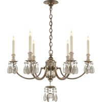 Visual Comfort Thomas OBrien Elizabeth 6 Light Chandelier in Burnished Silver Leaf TOB5036BSL