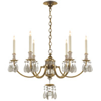 Thomas OBrien Elizabeth 6 Light 33 inch Gilded Iron with Wax Chandelier Ceiling Light
