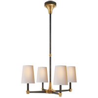 Visual Comfort Thomas OBrien Caron 4 Light Chandelier in Bronze with Antique Brass with Natural Paper Shade TOB5045BZ/HAB-NP