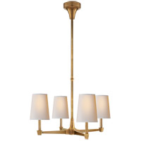 Visual Comfort Thomas OBrien Caron 4 Light Chandelier in Hand-Rubbed Antique Brass with Natural Paper Shade TOB5045HAB-NP