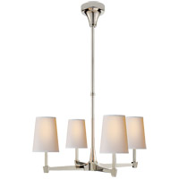 Visual Comfort Thomas OBrien Caron 4 Light Chandelier in Polished Nickel with Natural Paper Shade TOB5045PN-NP