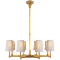 Visual Comfort Thomas OBrien Caron 8 Light Chandelier in Hand-Rubbed Antique Brass with Natural Paper Shade TOB5046HAB-NP
