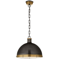 Visual Comfort TOB5071BZ/HAB Thomas OBrien Hicks 2 Light 16 inch Bronze and Hand-Rubbed Antique Brass Pendant Ceiling Light Extra Large