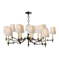 Visual Comfort Thomas OBrien Chandler 15 Light Chandelier in Blackened Rust with Antique Brass TOB5111BR/HAB-NP