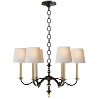 Visual Comfort TOB5119BR/HAB-NP Thomas Obrien Channing 6 Light 28 inch Blackened Rust with Antique Brass Chandelier Ceiling Light