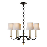 Thomas OBrien Channing 6 Light 28 inch Blackened Rust with Antique Brass Chandelier Ceiling Light